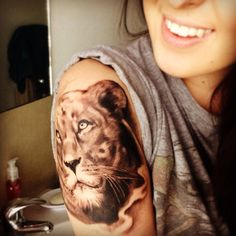 My lioness tattoo. Mega proud! Can't wait to get it finished! Lion and animal tattoos and the coolest. Photo realism
