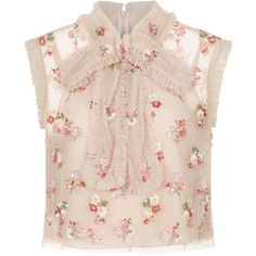 Needle & Thread Petal Pink Ditsy Bow Embellished Top (£135) ❤ liked on Polyvore featuring tops, blouses, sleeveless blouse, embroidered blouse, sequin blouse, bow neck blouse and floral blouse