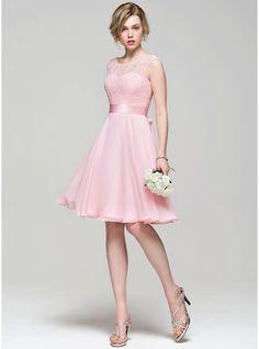 Vestidos princesa/ Formato A Decote redondo Coquetel tecido de seda Renda Vestido de madrinha com Curvado