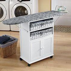 Folding ironing board cabinet; 2-Basket Cottage-Style Ironing Board ...