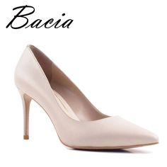 48.99$  Watch here - Bacia New Sheep skin High Heels Women Genuine Nutural Leather Pumps Fashion Elegant Wedding Pink Red Shoes Handmade shoes VB039   #buymethat
