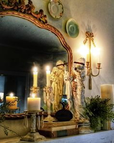"""Dawn on Instagram: """"A little candlelight on this cold and rainy evening🕯and a little masquerading!👻 #hauntinglybeautifuldecor #halloween #halloweenhome…"""" French Country Cottage, French Decor, Halloween House, French Style, Vignettes, Candle Sconces, Mirrors, Dawn, My House"""