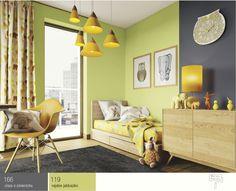 Pokój dziecka -Na tym tle świetnie będą wyglądać białe meble idodatki wkolorze turkusu, szarości lub pastelowej wersji kolory cytrynowego.