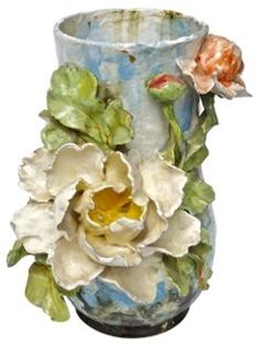 Lrge Antique French Majolica Floral Vase | Style Fusion | One Kings Lane