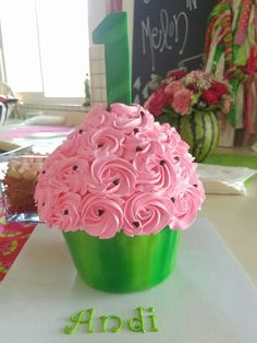 Giant cupcake.  Cake for first birthday . Watermelon themed party.  Watermelon cake.