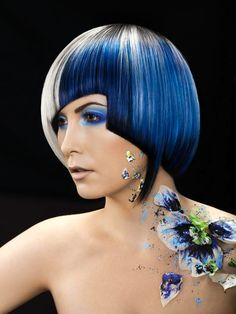 Gorgeous blue color design with fresh, painted petals to match, Chrystofer Benson earns a Haircolorist of the Year Finalist nod for NAHA 2014! Photog: Joseph Cartright