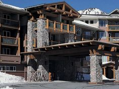 Mountain lodge with stone pillars
