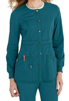 Code Happy Bliss Snap Front Scrub Jackets With Certainty - Black - This snap front… Dental Uniforms, Scrub Jackets, Cheap Online Shopping, Medical Scrubs, Happy Women, Princess Seam, Crop Tops, Sweaters, Outfits