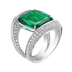 Paolo Costagli New York. Modern setting of an Art Deco emerald.