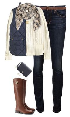 """""""Cream & Navy"""" by steffiestaffie ❤ liked on Polyvore featuring J Brand, H&M, J.Crew, Tory Burch and Henri Bendel"""