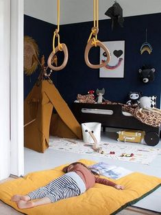 Toddler room in dark tones Let's create a playful and cosy room for your child with R toddler bed in dark chocolate. The post Toddler room in dark tones appeared first on Rafa-kids. Kids Bedroom Boys, Cool Kids Rooms, Childrens Bedroom, Kid Bedrooms, Toddler Rooms, Toddler Bed, Toddler Playroom, Rooms Ideas, Playroom Ideas