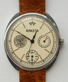 Interesting Raketa watch with three sub dials. I really like the face. Currently at £7.50 at http://r.ebay.com/4eup6J