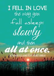 """Résultat de recherche d'images pour """"i fell in love the way you fall asleep slowly and then all at once quotes"""""""