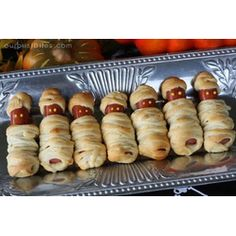 #Halloween #Food Ideas-- did this at a Halloween party when the kids were little. So cute and easy. Kids who like hot dogs will love them!