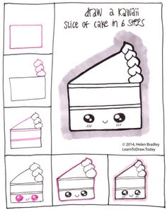 Kawaii things to draw easy drawings for beginners step by step draw style cake in 6 . kawaii things to draw easy Cute Easy Drawings, Kawaii Drawings, Doodle Drawings, Doodle Art, Kawaii Doodles, Cute Doodles, Kawaii Art, Kawaii Style, Doodles Bonitos