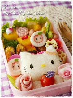 Hello Kitty, boxed lunch, bento; Anime Food