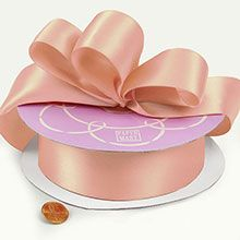 "7/8"" X 100Yd Peach Single Face Satin Ribbon"