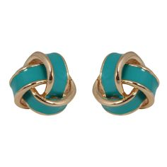 CHIC Turquoise Love Knot Stud Clip On Earrings