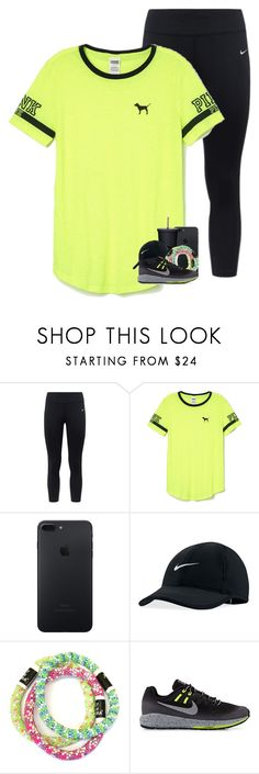 """you attract the energy that you give off"" by preppymilitarybrat ❤ liked on Polyvore featuring NIKE and Victoria's Secret PINK"
