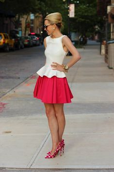 @roressclothes closet ideas #women fashion outfit #clothing style apparel White Top and Red Skirt