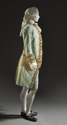Man's Suit France, circa 1760 Costumes; principal attire (entire body) Coat and waistcoat: wool plain weave, full finish, with sequins and m...