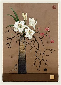 BugArt Paper & Foil ~ White Lilies and Blossom. PAPER & FOIL Designed by Jane Crowther.