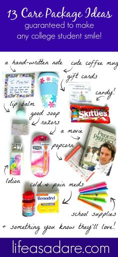 Here are some great college care package ideas for any college student you know! Mix and match to make the perfect package for your college student!