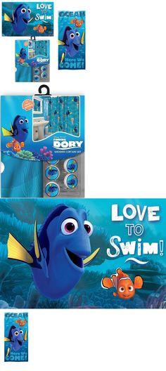 Bath 115624: 15Pc Disney Finding Nemo And Dory Shower Curtain Hooks Mat  Towel Set Bathroom
