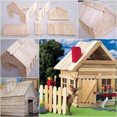 Here is a cute idea to build a little house with popsicle sticks. You can use it as a nice table decor or a pet house for small pets such as hamsters. To me, this is a hamster toy rather than a house, where it can run … craftstickprojects Popsicle House, Popsicle Stick Houses, Popsicle Crafts, Craft Stick Crafts, Diy Crafts, Hamster Toys, Barn Wood Crafts, Fairy Garden Houses, Kids Wood