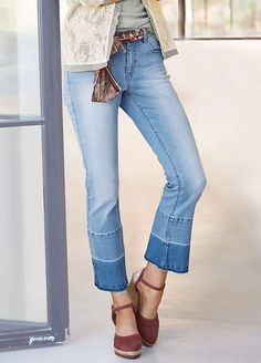 B.C. Best Connections Kick Flare Worn Look Jeans