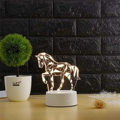 Lampe 3D Cheval Impression 3d, Lampe 3d, Planter Pots, Lamps, Night Lamps, Horse, Bedroom, 3d Printing, Lightbulbs