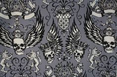 Alexander Henry NO GUTS NO GLORY Gray Cotton Quilt Fabric BTY Skulls Crowns #AlexanderHenry