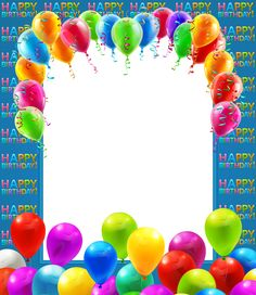 Happy Birthday Transparent PNG Frame with Balloons