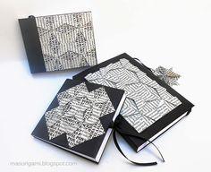 origami - libretas encuadernadas en origami con detalle en las cubiertas de origami quilt reutilizando papel de revista