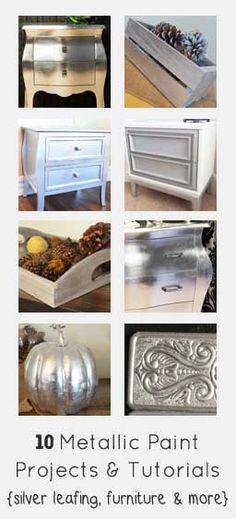 Metallic is very on trend right now. Try your hand at it with these metallic furniture paint projects & tutorials