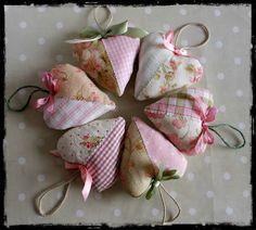 Cute and pretty Shabby Chic Fabric Hearts