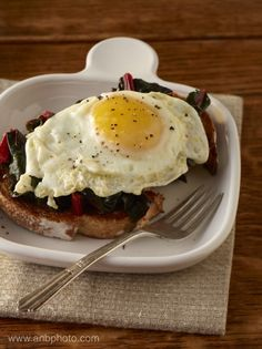 Fried Eggs on Chard and Toast