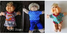 Chelsea from GYCT Designs shares some free patterns for making cloths for a Cabbage Patch doll. The soft fabric doll is a favorite of many, and with her free pattern you can make a whole wardrobe ...