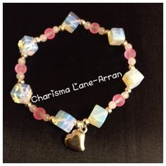 Pink & White cube beaded Bracelet by CharismaLane on Etsy