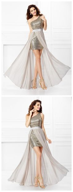 One-shoulder A-line/Princess Sleeveless Sequin Long Chiffon Prom Dress @DYLANQUEEN