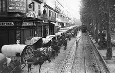 La Boqueria, carros de descarga, Barcelona 1913