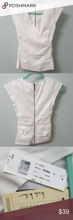 Artelier by Nicole Miller V neck ruffled top Brand new. White top with zipper in the back. Great work outfit! Nicole Miller Tops Blouses