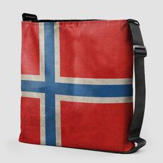 Tote bag with the design of the Norwegian Flag printed. Danish Flag, Norwegian Flag, Bjork, Flag Decor, Poplin Fabric, Hand Sewing, Messenger Bag, Diaper Bag, Great Gifts