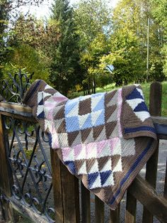Crocheted Navajo Blanket made using a pattern from the book 'Crocheted Throws and Wraps' by Melody Griffiths