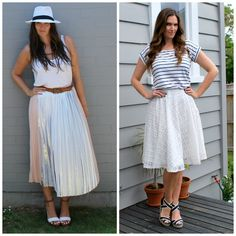 How to do the shirt tuck with  a skirt over on the blog