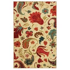 @Overstock - Beautify your floors with this colorful floral rug. Featuring a beautiful design that includes vibrant red, ivory, green, and turquoise tones, this nylon rug has a soft, high pile for comfort, and its machine-made construction enhances its durability. http://www.overstock.com/Home-Garden/Vibrant-Beige-Multi-Floral-Rug-8-x-10/5981383/product.html?CID=214117 $206.54