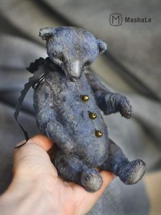 I N E S S A By Mashale - Artist Teddy Bear Inessa. Here is my new teddy bear in a vintage style. Bear sewn by hand from vintage plush rich blue color. Bears on the chest Is black scarf andvintage bell.Bear is created from rare plush, stuffed with sawdust and metal granulat. The bear is stuffed firmly ...