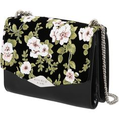 Rochas Women Palais Royal Floral Velvet & Leather Bag (523.965 HUF) ❤ liked on Polyvore featuring bags, handbags, real leather handbags, genuine leather purse, floral print handbags, 100 leather handbags and chain-strap handbags