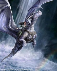 In a hurry in the morning? No time to wash your hair or your dragon? I recommend a ride through a waterfall. Invigorating and time saving.  Artist Anne Stokes. http://www.annestokes.com/