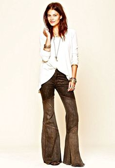 NEW Free People black brown wash suede piping Seamed Bambi Flare Jeans 28 $128 #FreePeople #flaredjeans